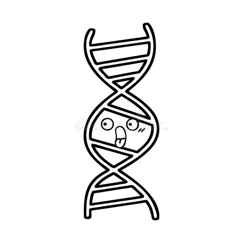 brin d'ADN de bande dessin?e de dessin au trait illustration stock