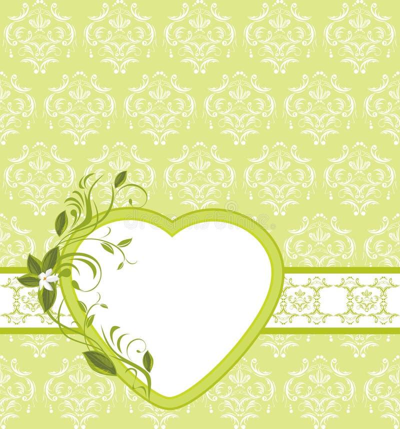 Brin de floraison avec le coeur sur le backgr ornemental illustration stock
