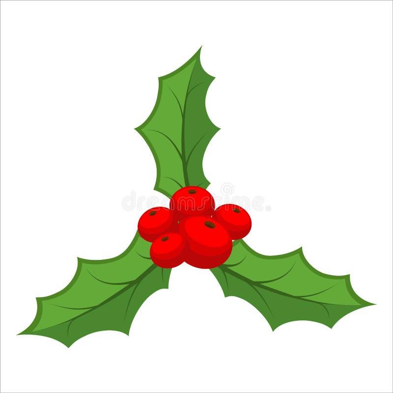 Brin de gui d'isolement Usine traditionnelle de Noël holida illustration de vecteur