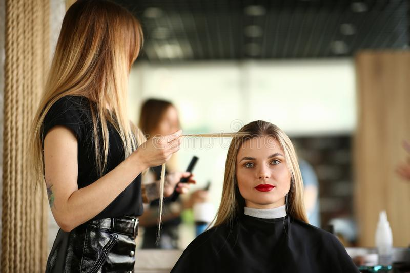 Brin de Holding Long Hair de coiffeur de client photo stock