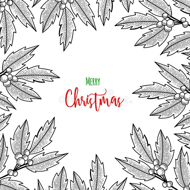 Brin de Noël de baie de houx Illustration pour des cartes de voeux, des invitations, et d'autres projets d'impression illustration stock