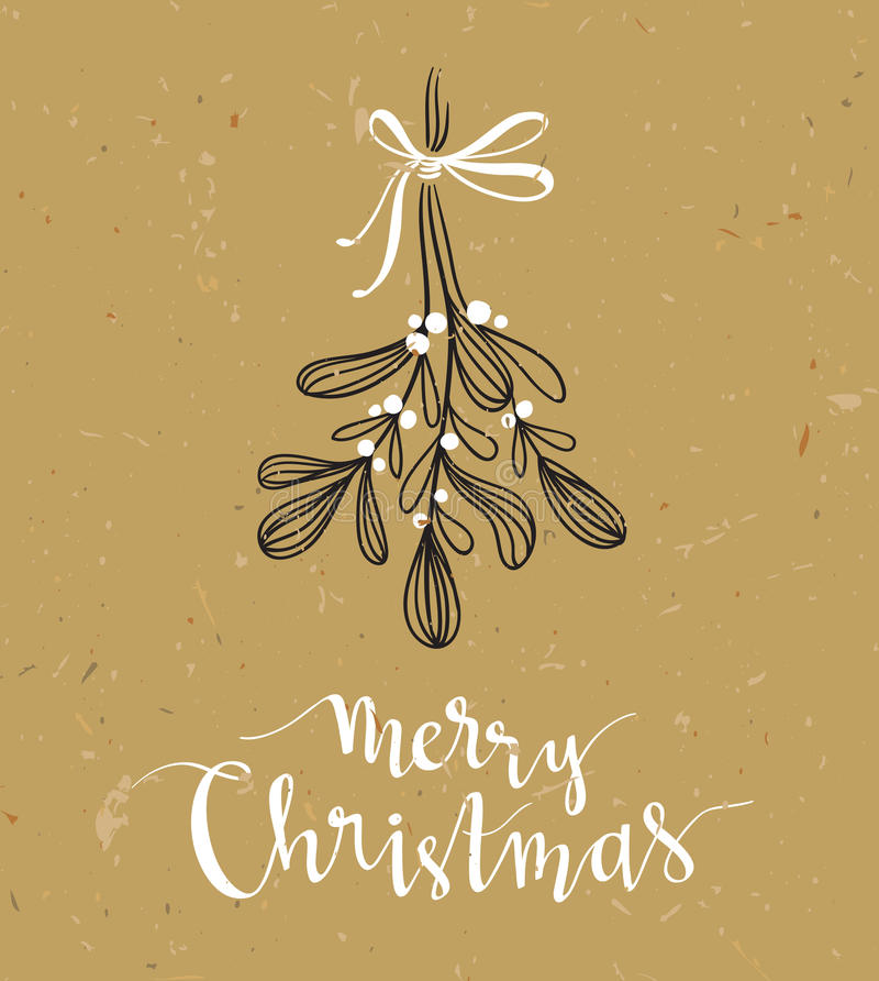 Brin de Noël de gui avec le lettrage de vacances - Joyeux Noël Illustration de vecteur illustration libre de droits