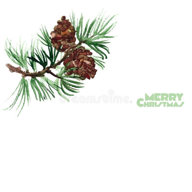 Brin de pin d'aquarelle Joyeux Noël illustration stock