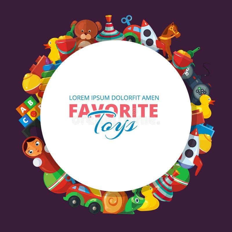 Brinca ícones para crianças na forma do círculo ilustração stock