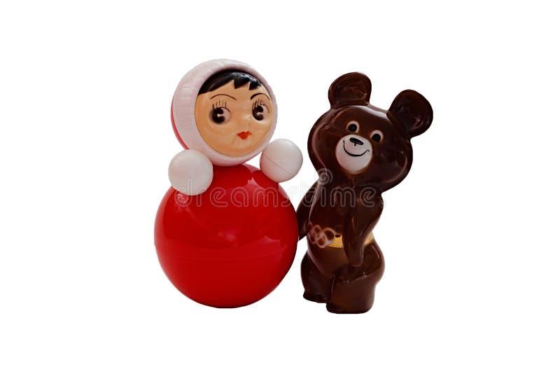 Brinca o brinquedo da secadora de roupa e o urso olímpico sob a forma de um par doce fotografia de stock