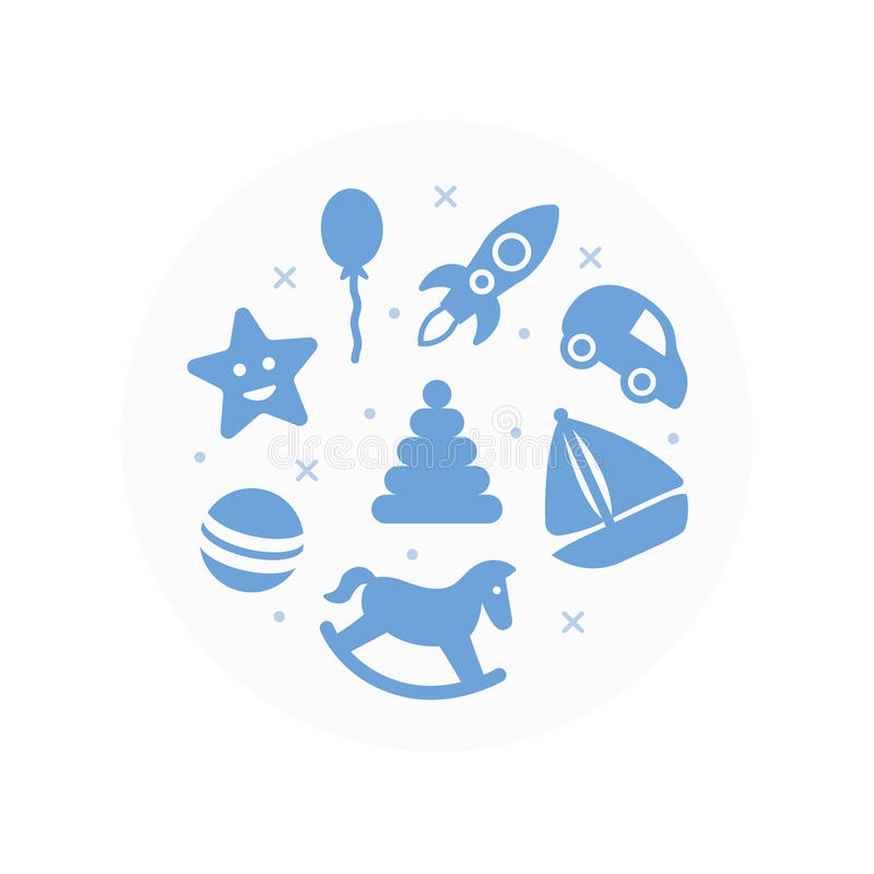 Brinca o logotipo Ícones lisos ajustados ilustração do vetor
