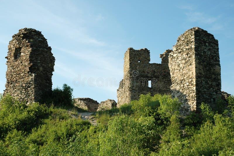 Brincko城堡的废墟在Zabreh的 免版税库存照片
