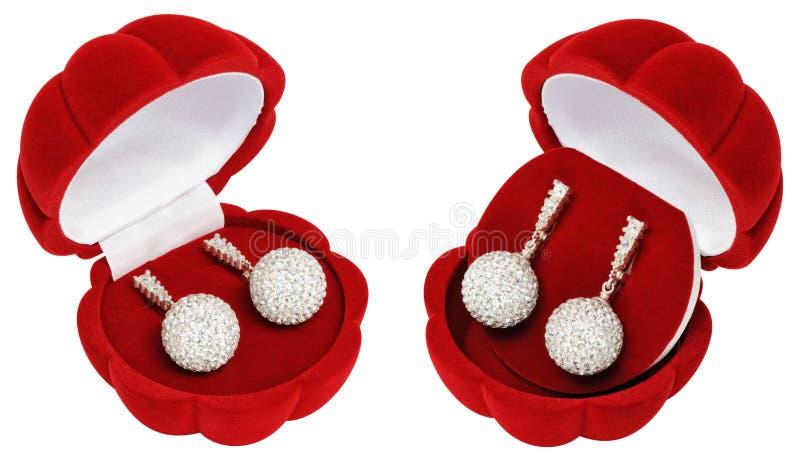 Brincos de prata no caixões bonitos - escudos foto de stock