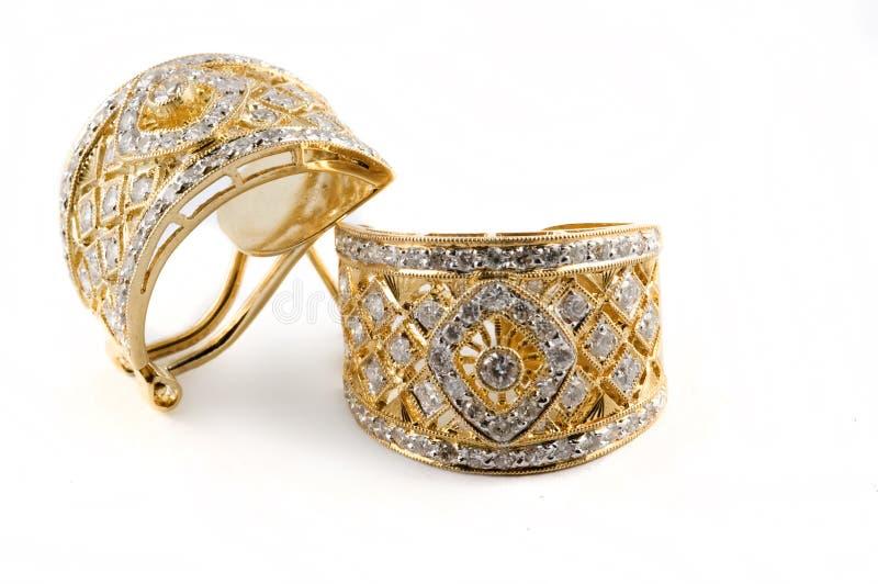 Brincos do diamante foto de stock royalty free