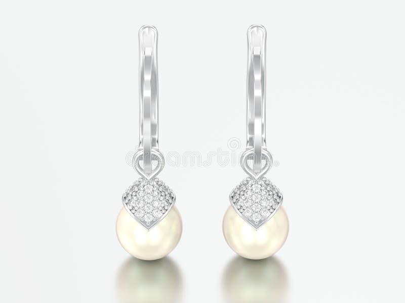brincos do diamante da pérola do ouro branco ou da prata da ilustração 3D com imagem de stock royalty free