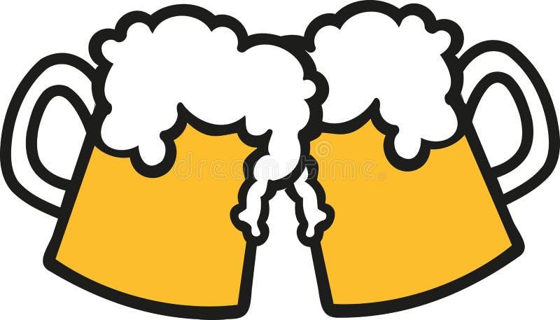 Brindando canecas de cerveja ilustração do vetor