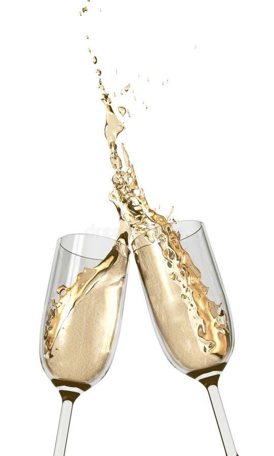Brindando flautas de Champagne imagem de stock royalty free