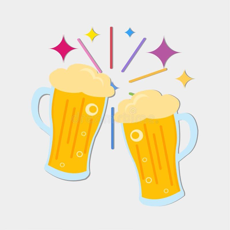 Brindando a ilustração do símbolo do vetor de duas cervejas ilustração do vetor