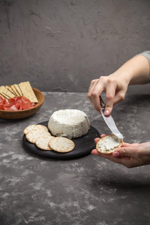 Brinde caseiro do pão estaladiço com queijo e salsa da ricota no fundo escuro imagem de stock