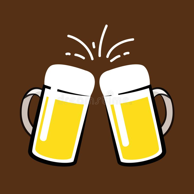 Brinde com as duas canecas de cerveja ilustração do vetor