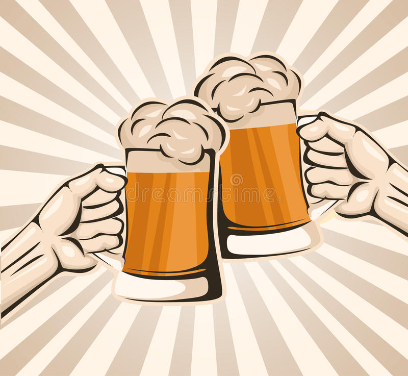 Brinde com cerveja ilustração royalty free