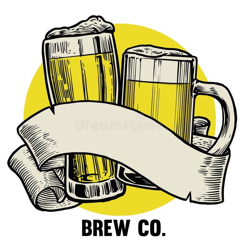 Brinde da pinta do vidro de cerveja ilustração royalty free