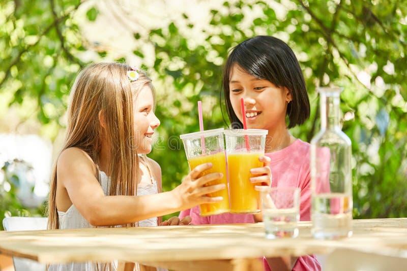 Brinde de duas meninas com suco de laranja fotografia de stock