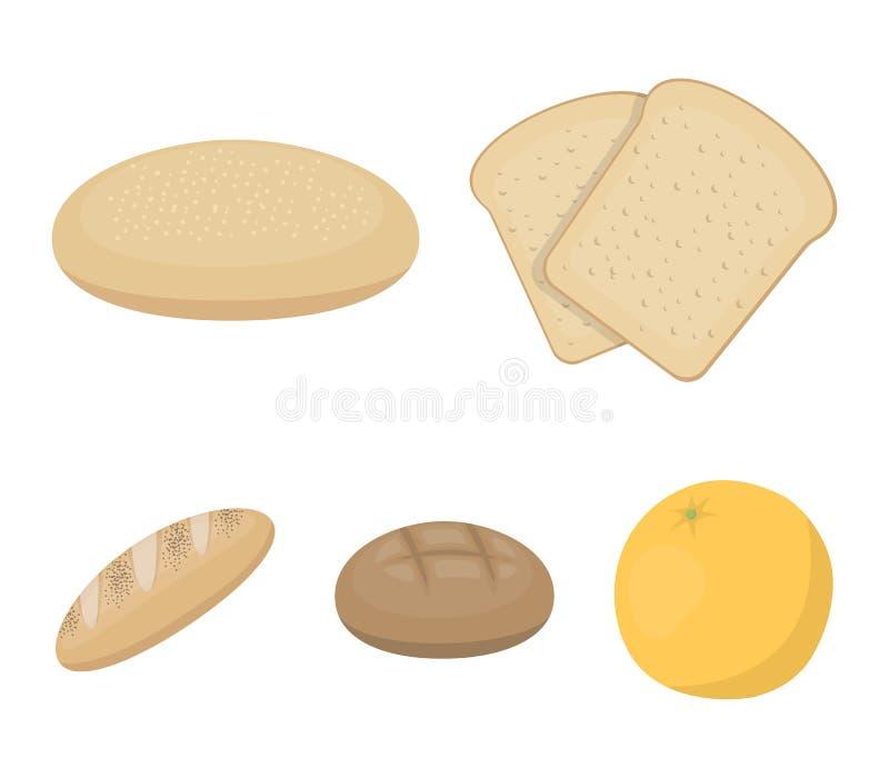Brinde, estoque da pizza, naco ruffed, centeio redondo Os ícones ajustados da coleção do pão no estilo dos desenhos animados vect ilustração stock