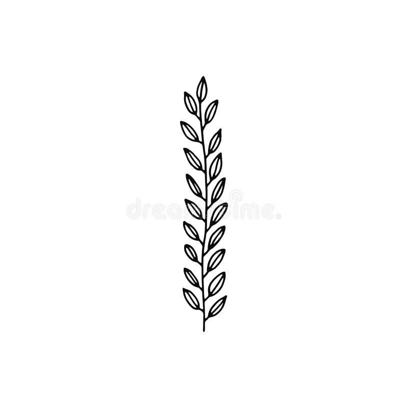 Brindille d'usine avec l'icône de tige de feuilles objet d'isolement par croquis illustration stock