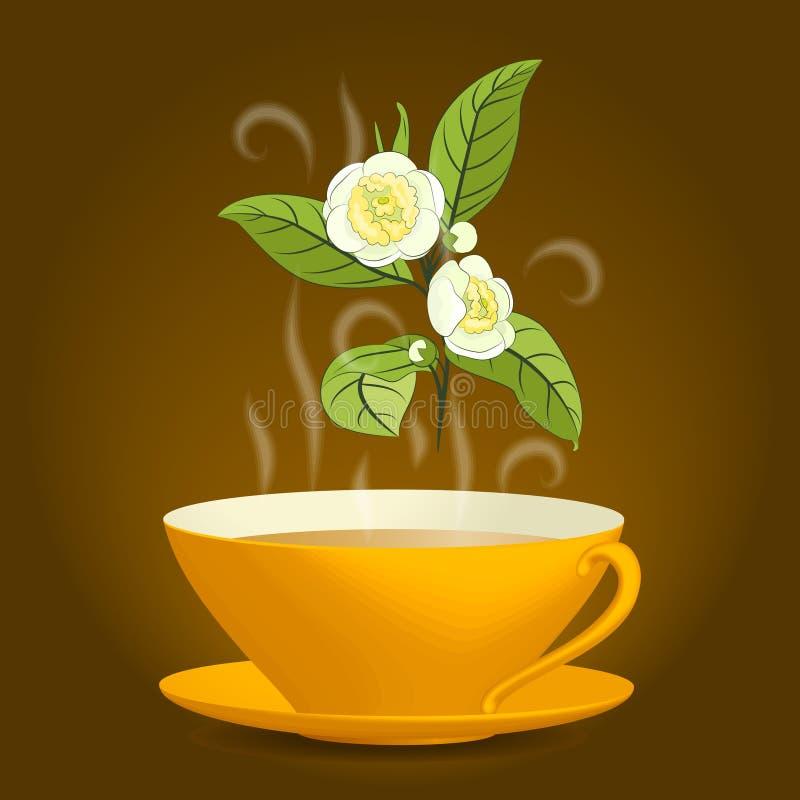 Brindille de camélia et tasse orange de thé illustration de vecteur