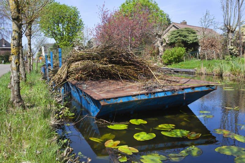 Brindilles de saule sur un ponton dans Reeuwijk image stock