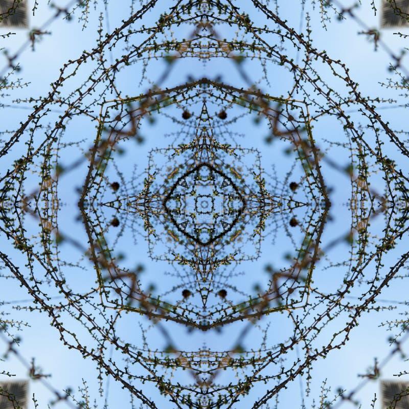 Brindilles minces de ressort de mélèze sur un fond de ciel bleu avec de jeunes aiguilles lumineuses, jeunes pousses, macro illustration de vecteur