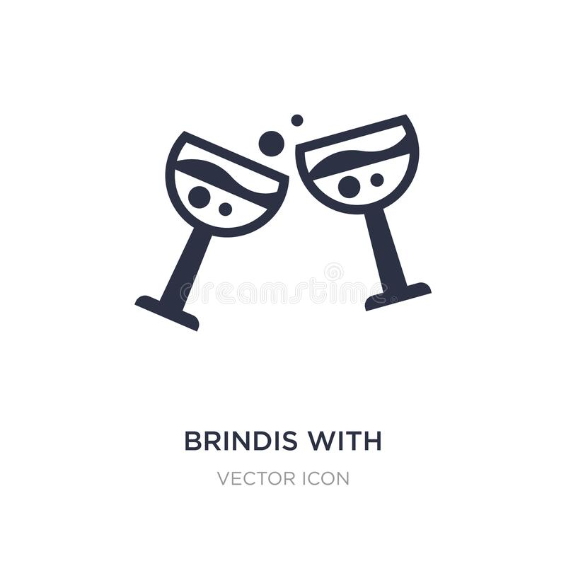 brindis with wine glasses icon on white background. Simple element illustration from Drinks concept vector illustration