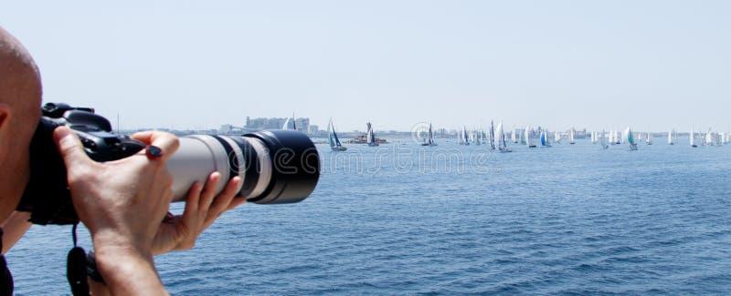 Brindisi, Italia - 06 16 2019: Navegación de los yates durante la regata Brindisi Corfú imagen de archivo libre de regalías