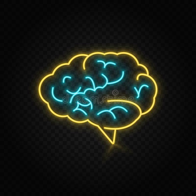 Brine, brainstorming neon icon. Blue and yellow neon vector icon. Transparent background royalty free illustration