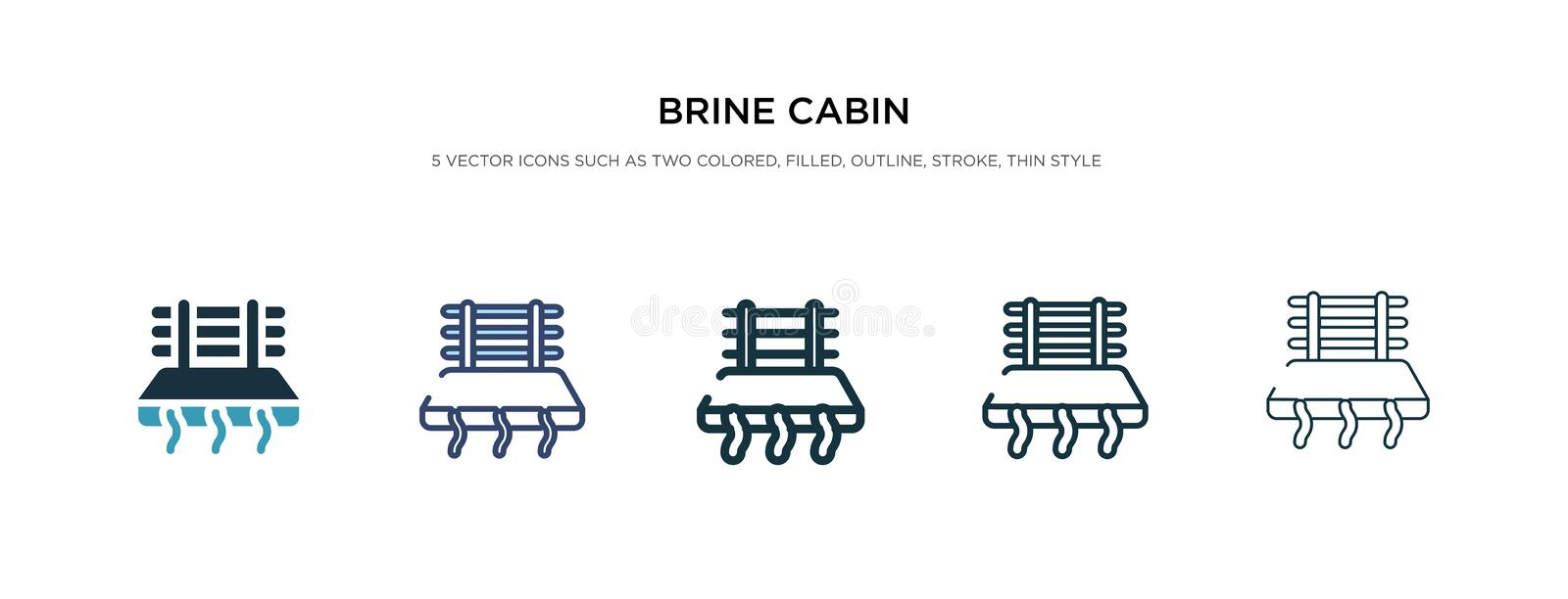 Brine cabin icon in different style vector illustration. two colored and black brine cabin vector icons designed in filled,. Outline, line and stroke style can royalty free illustration