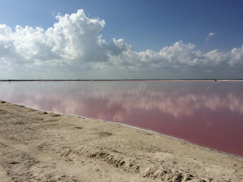 Brine lakes for salt producction. Pink brine lakes where salt is obtained for human consume stock photos