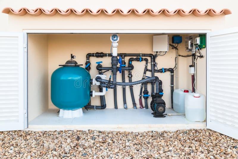 Salt Water Pool Plumbing : Brine salt water swimming pool filter and pumps stock