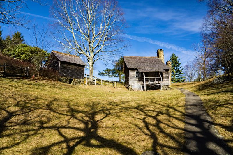 Brinegar Cabin – Blue Ridge Parkway, North Caroline, USA. Brinegar cabin on a beautiful sunny day located at milepost 238.5 on the Blue Ridge Parkway stock images