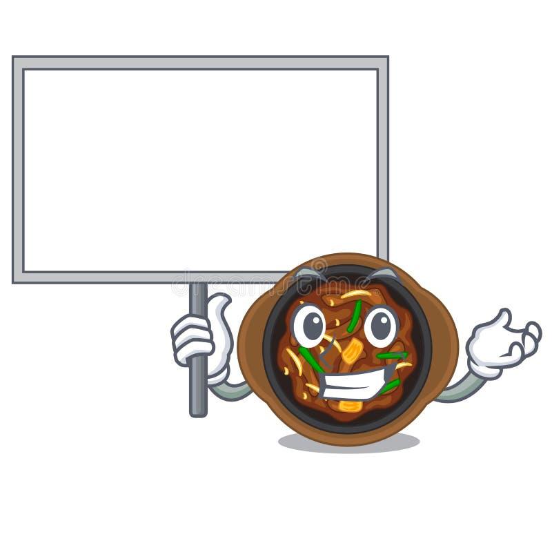 Bring board bulgogi is served on mascot plate. Vector illustration stock illustration