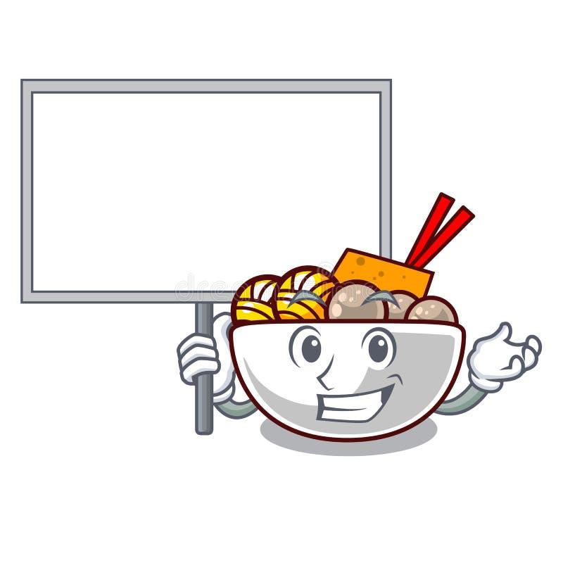 Bring board meatball fried on the cartoon plate. Vector illustration vector illustration
