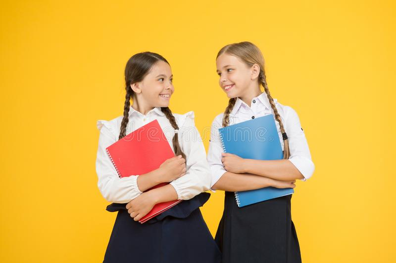 Bring child school few days prior play playground and get comfortable. Cheerful school girls. Point out positive aspects. Starting school create positive royalty free stock photos