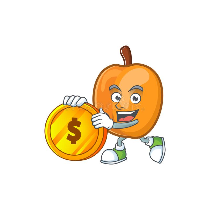 Bring coin apricot fruit in the cartoon shape. Vector illustration vector illustration