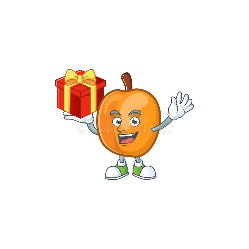 Bring gift apricot fruit in the cartoon shape. Vector illustration vector illustration