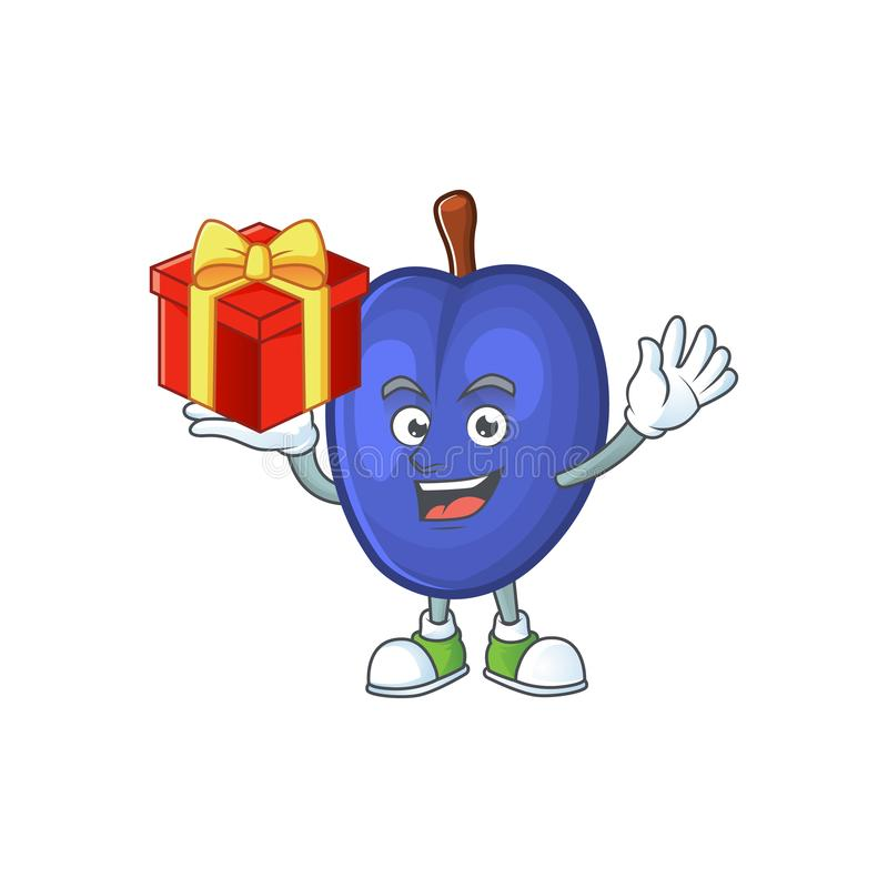 Bring gift fruits prune character on white background. Vector illustration vector illustration