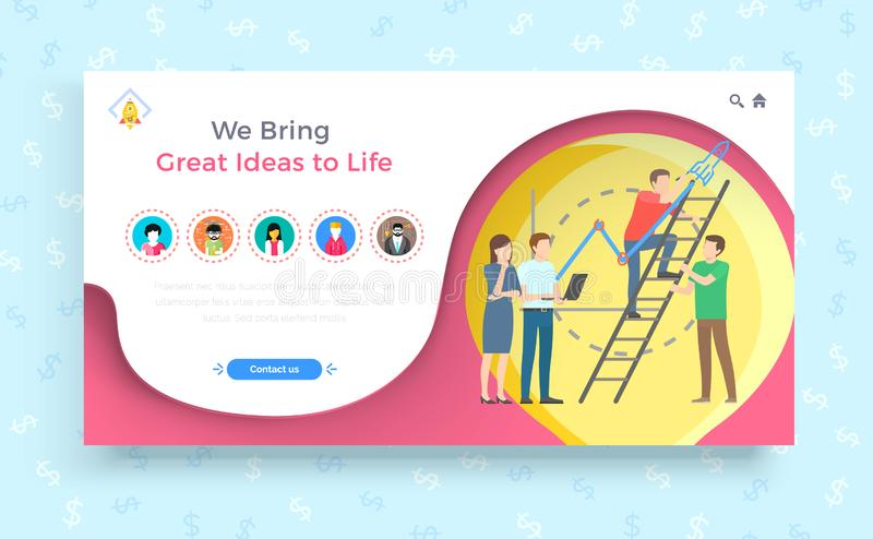 We Bring Great Ideas to Life Business Concept stock illustration