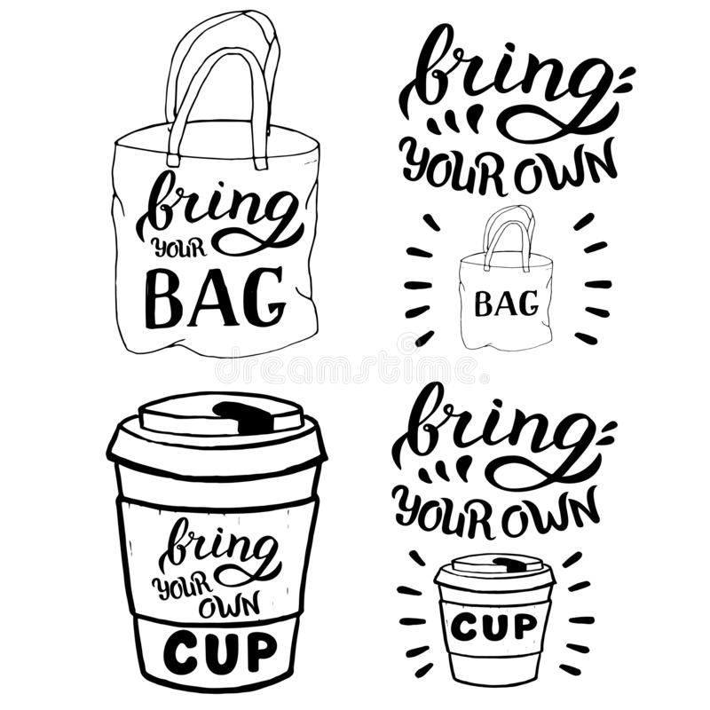 Bring your bag and cup typography set template. Zero waste concept. Modern banner for shops advertisement. Vector eps 10 format. Bring your bag and cup stock illustration
