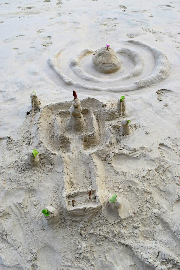 Bring Your Inner Child Out - Sand Sculpture Festival - Models of Temple and Castle on Sea Beach - Creative Expressions stock photography