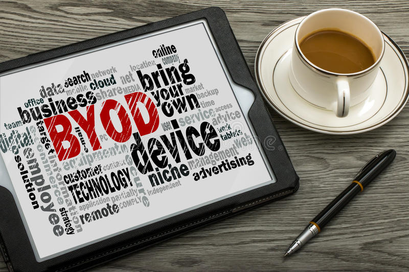Bring your own device word cloud royalty free stock image