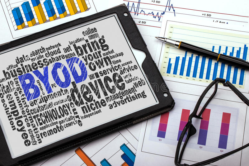 Bring your own device word cloud. With related tags stock photo