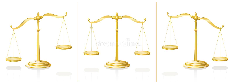 Bringad ur balans skala som balanseras vektor illustrationer