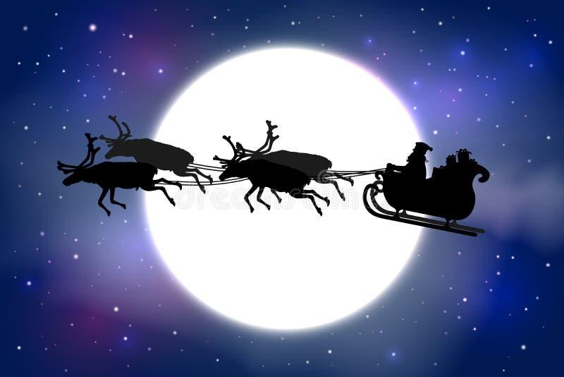 Bringen Sie Christmas hervor, das seinen Pferdeschlitten mit Ren vor einem f reitet stock abbildung