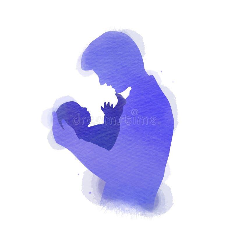 Bringen Sie das Halten des Babyschattenbildes plus abstraktes Aquarell gemalt hervor Gl?cklicher Vater ` s Tag Digital-Kunstmaler stock abbildung