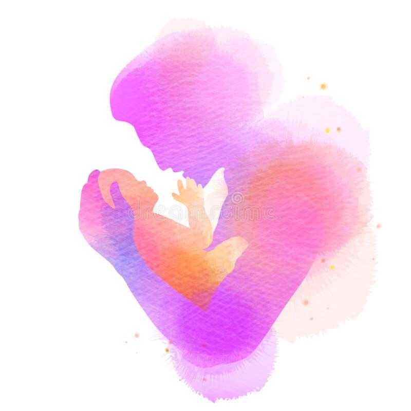 Bringen Sie das Halten des Babyschattenbildes plus abstraktes Aquarell gemalt hervor Gl?cklicher Vater ` s Tag Digital-Kunstmaler vektor abbildung