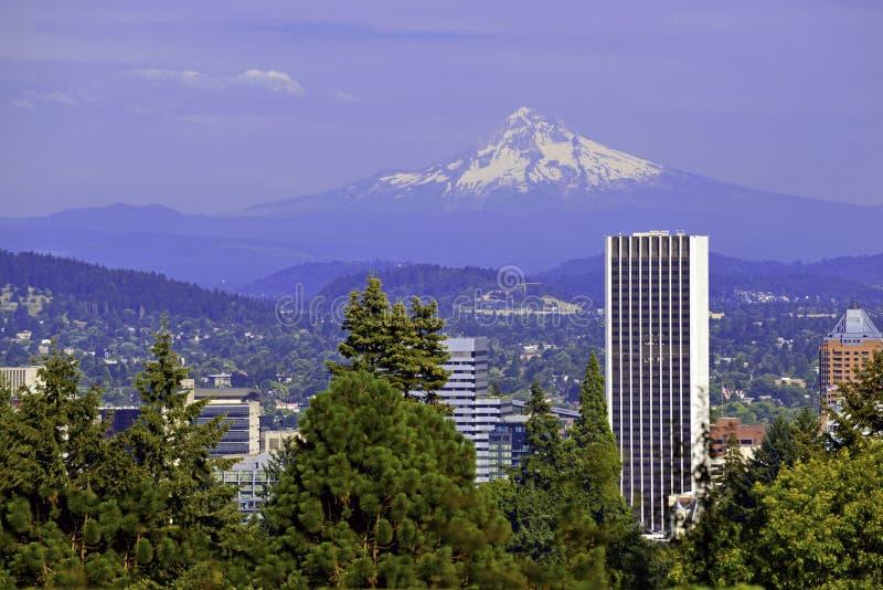 Bringen Sie die Haube an, welche die Stadt von Portland, Oregon übersieht stockfoto